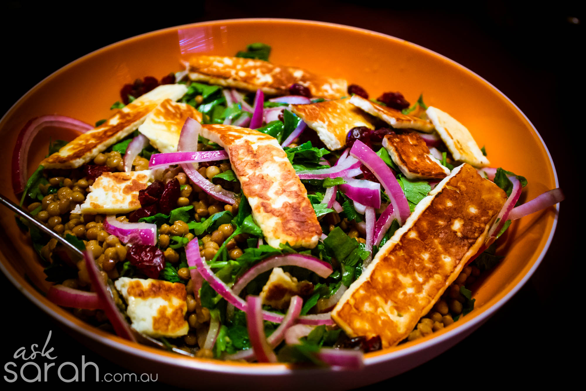 Warm Lentil, Cranberry & Haloumi Salad