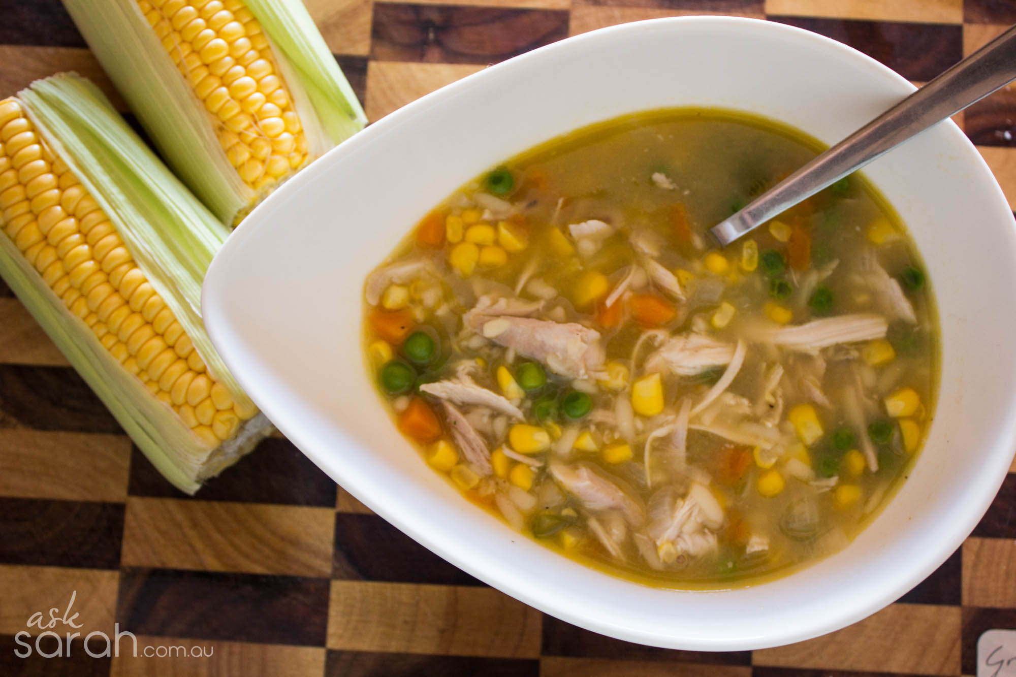 Recipe: Corn & Chicken Noodle Soup {Flexible Cooking, Vegetarian Friendly}