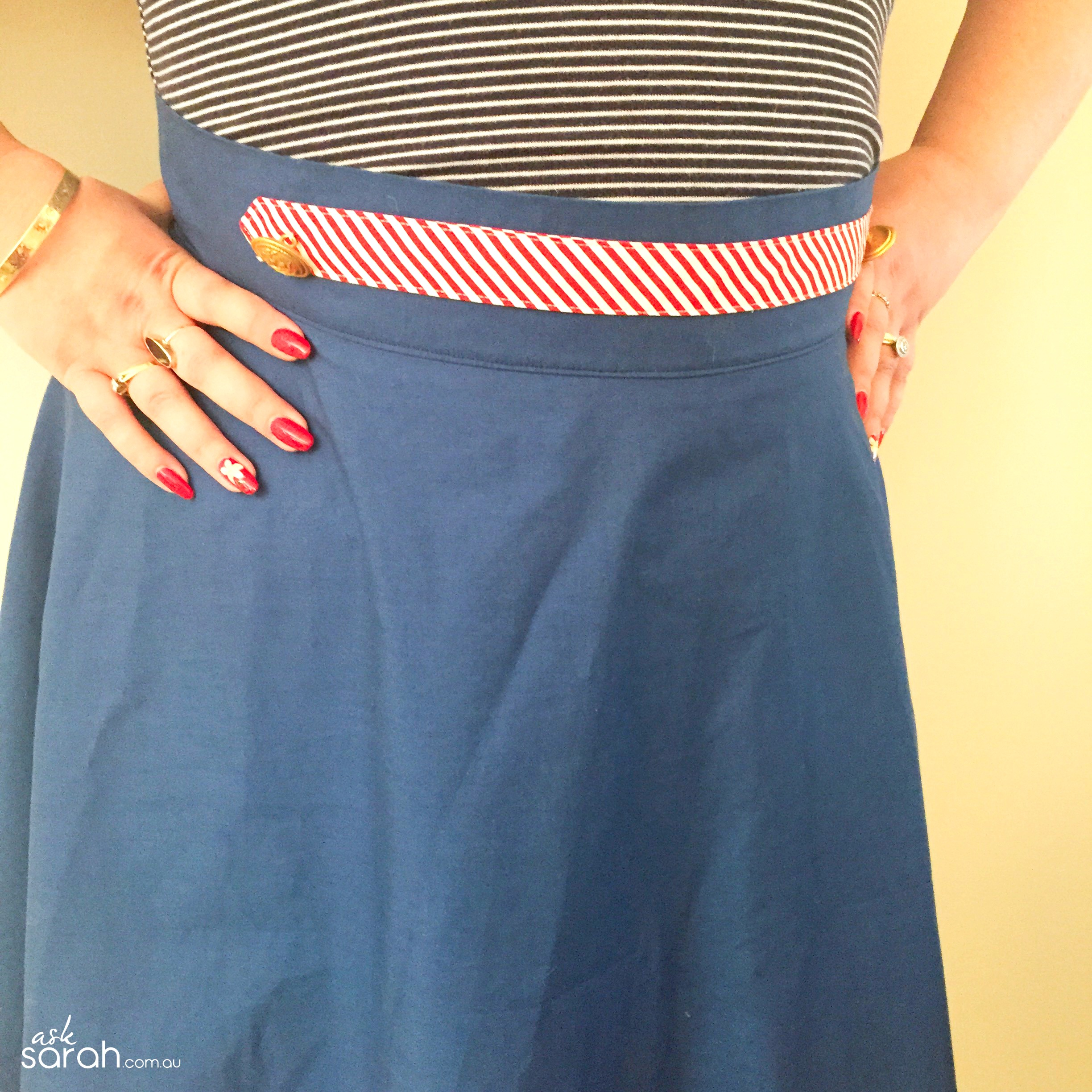 Sew: A Nautical Bias Skirt Tutorial {Half Circle Skirt w Bias Hem & Button Tab}