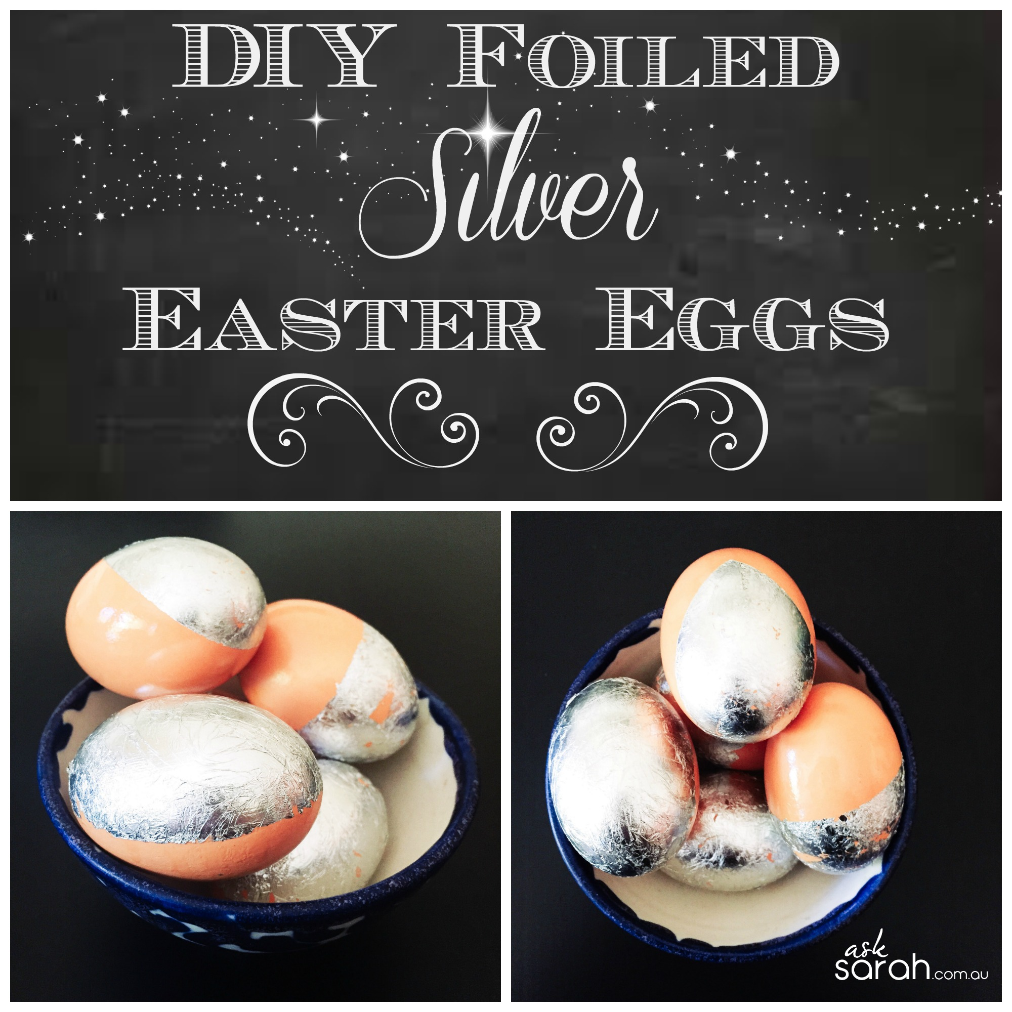 DIY Foiled Silver Easter Eggs {Silver Leaf Eggs}