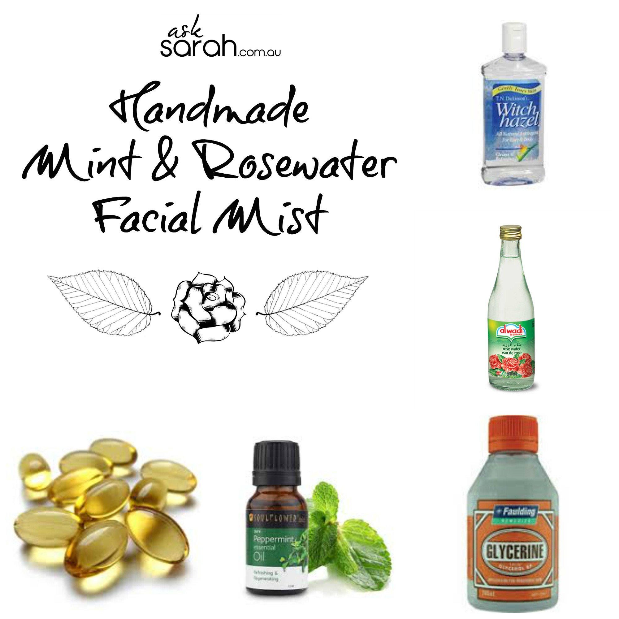 FDIY: Mint & Rosewater Facial Mist {Free Labels & Easy Recipe}