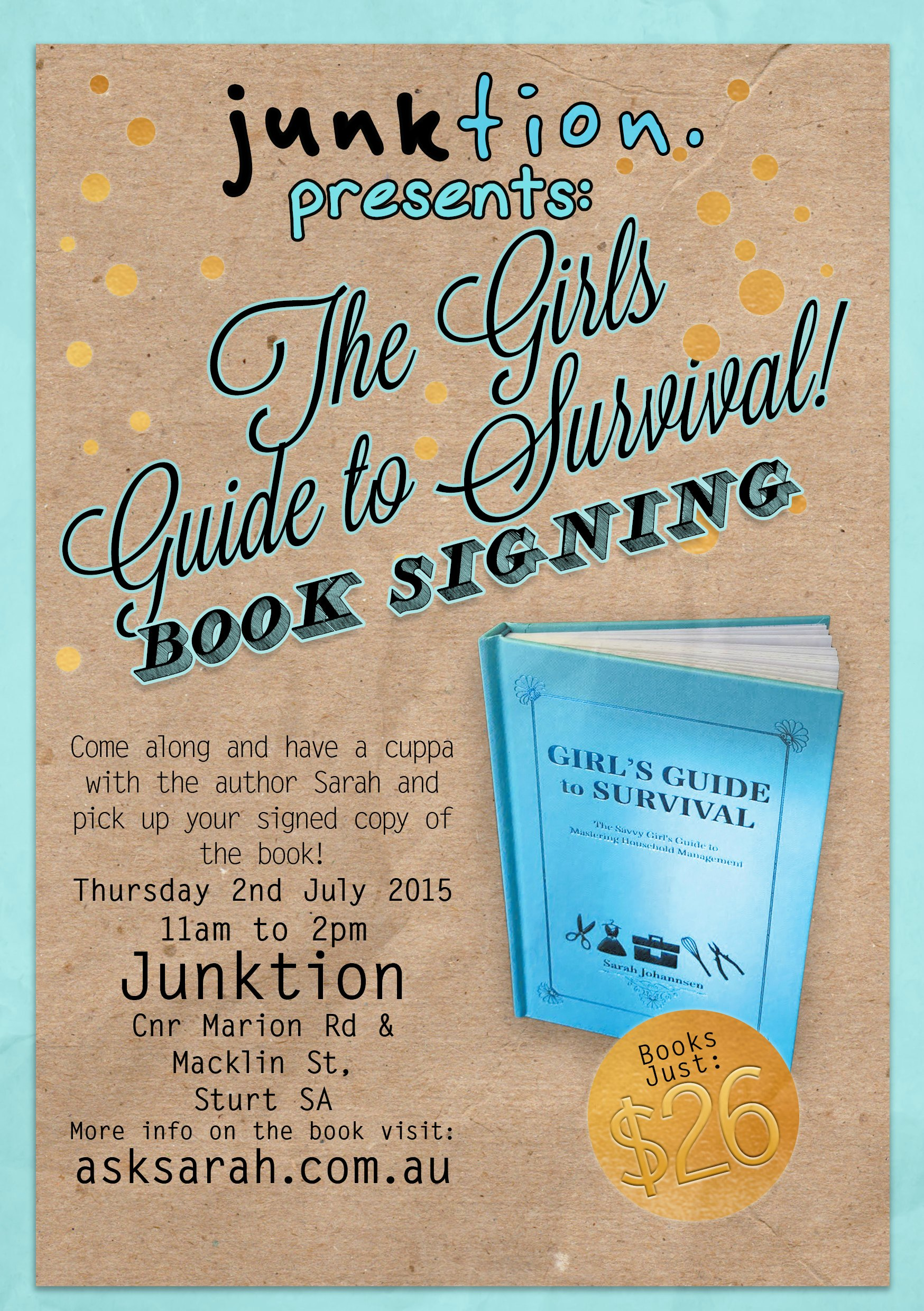 Come to Junktion for a Book Signing! 2 July 2015