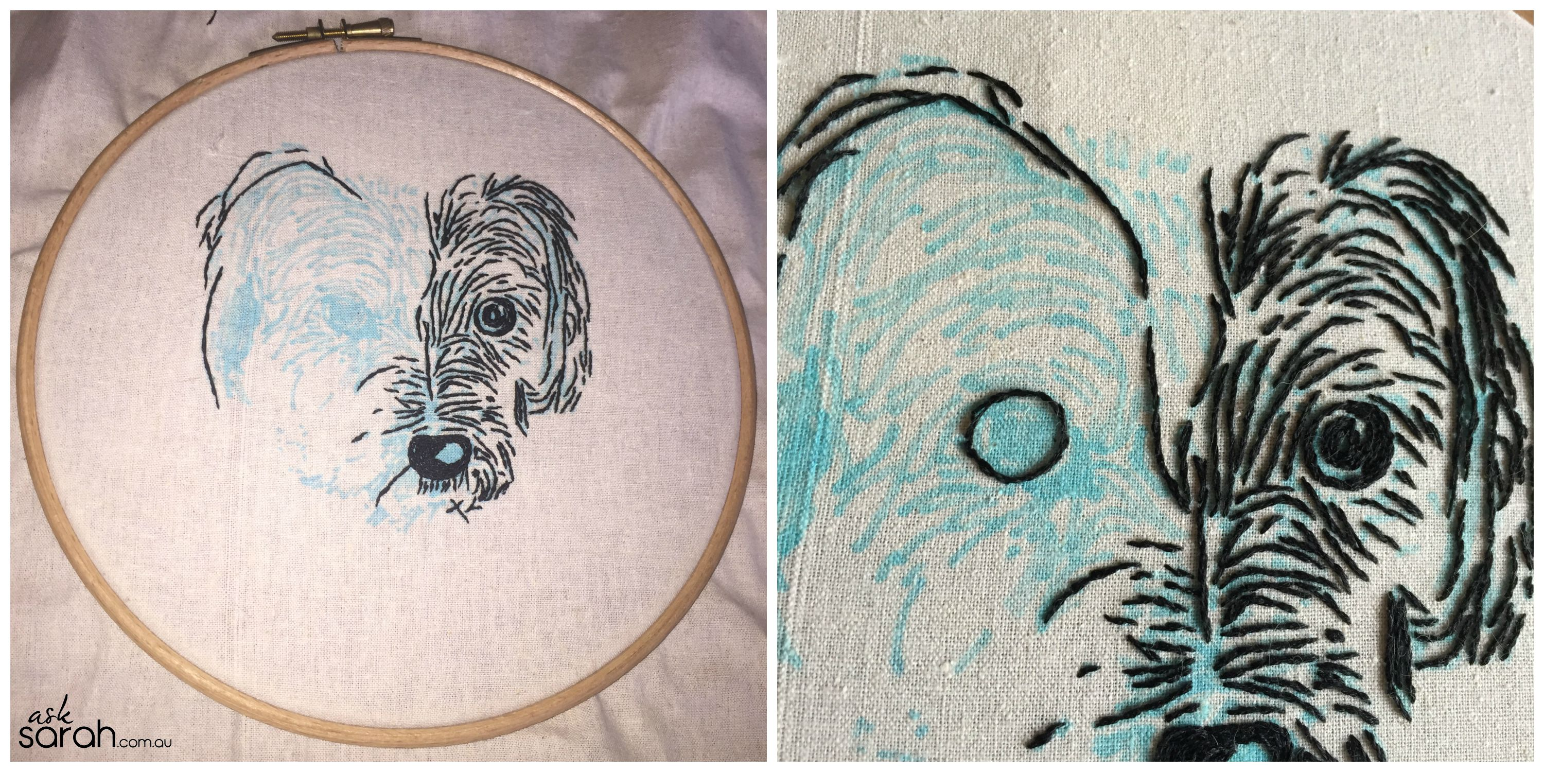 Sew fang embroidery diy stitched dog portrait with hoop