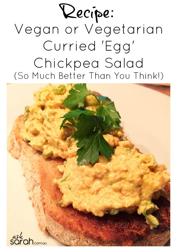 Recipe: Vegan or Vegetarian Curried 'Egg' Salad {This Mashed Chickpea Salad Is Perfect In Sandwiches!}