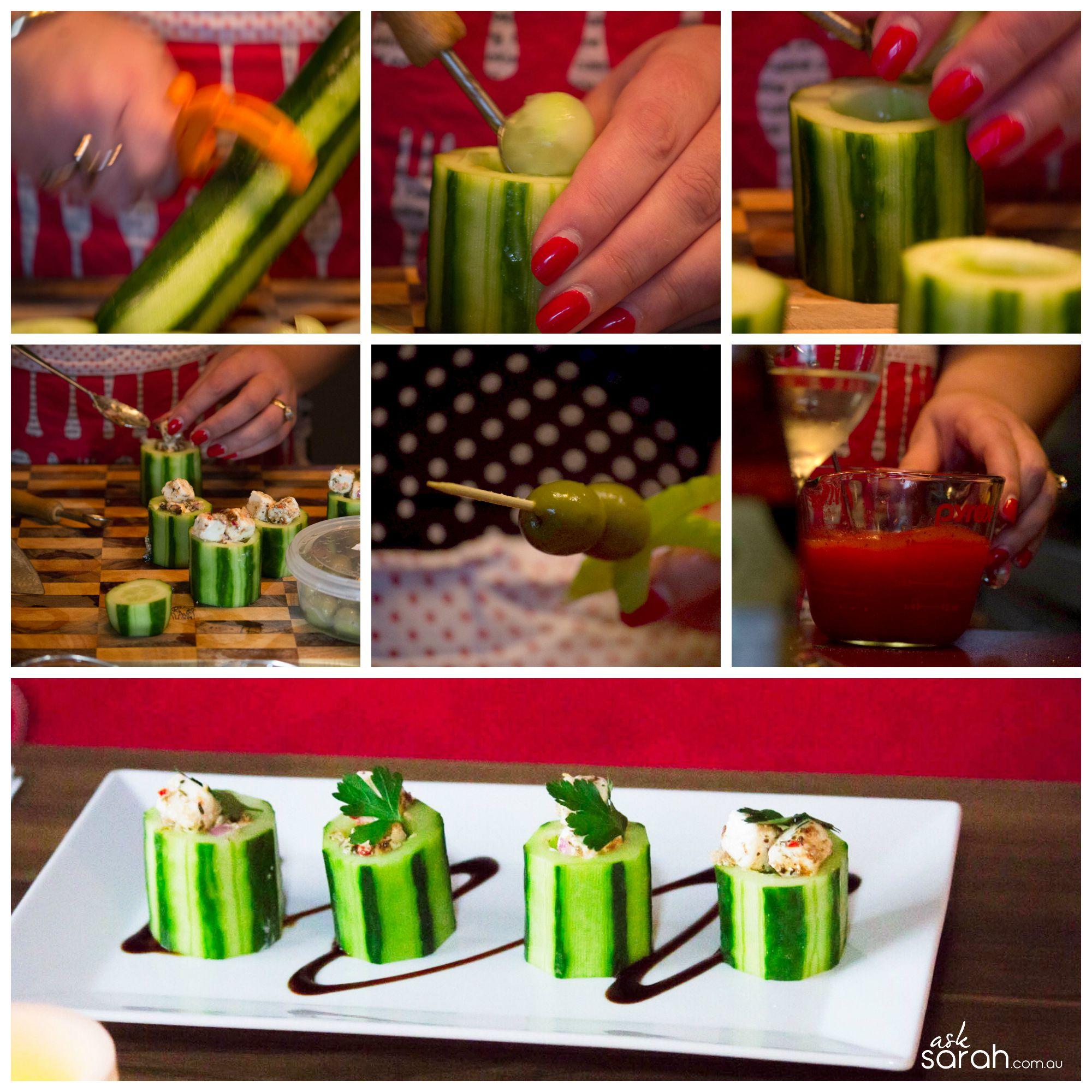 Recipe: Fetta Stuffed Cucumber Cups & Mini Bloody Mary's {A deconstructed take on the Classic Greek Salad}