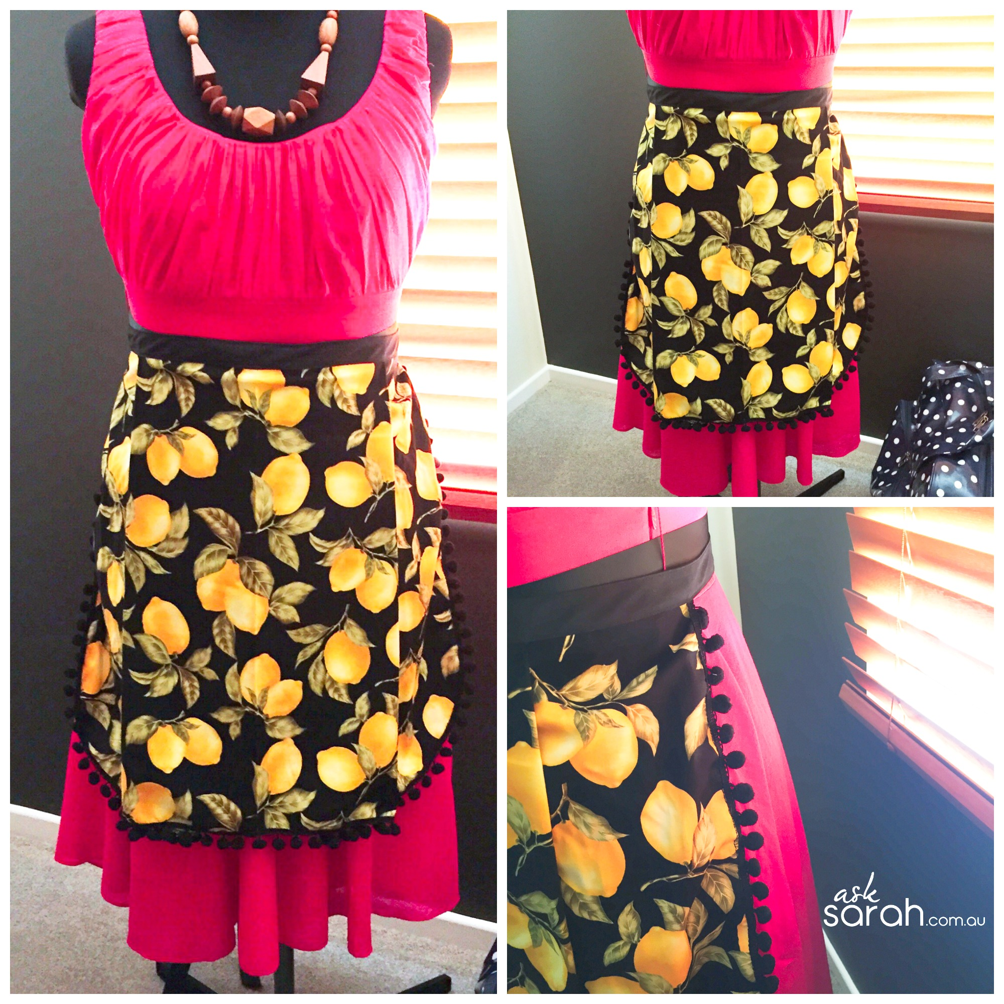 Sew: Easy & Elegant Pom Pom Apron {Make This In Just 30 Minutes! With 1/2 A Metre of Fabric}