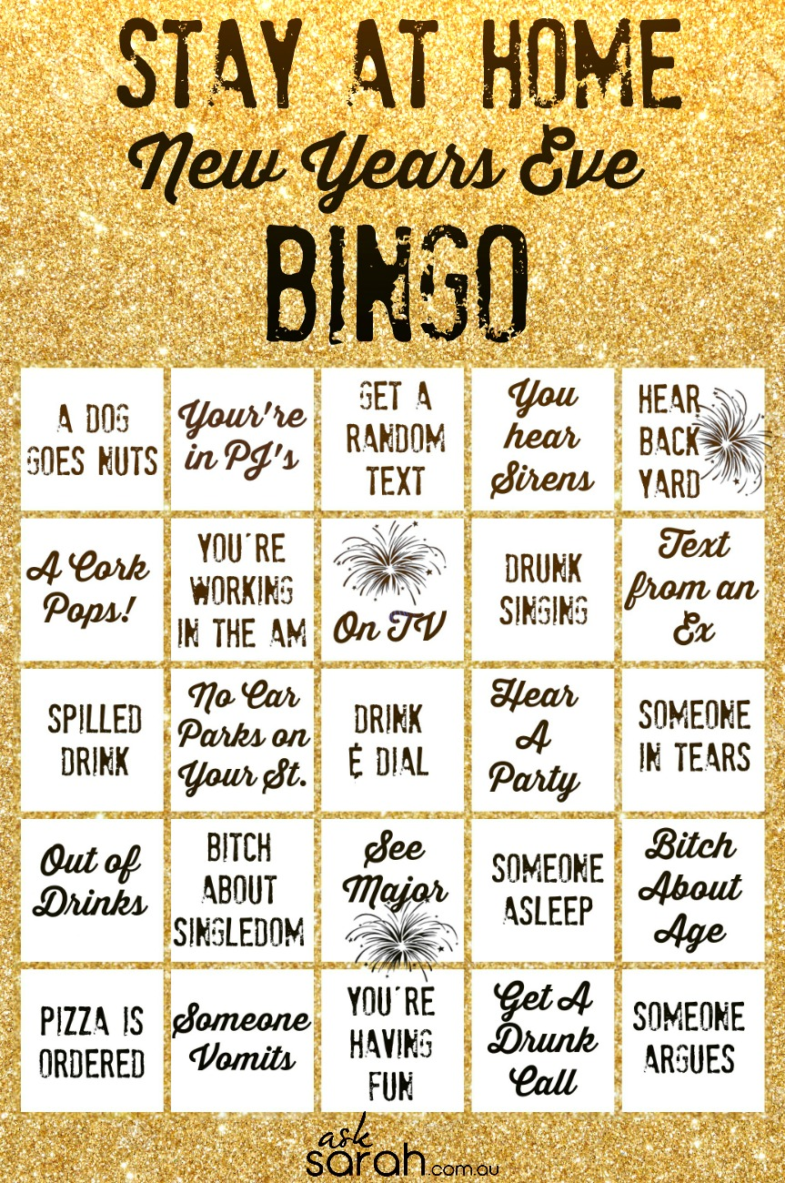 Stay At Home New Years Eve  BINGO