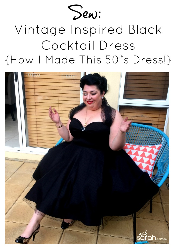 Sew: Vintage Inspired Little Black Cocktail Dress {How I Made This 50's Style Dress! Almost A Proper Tutorial!}