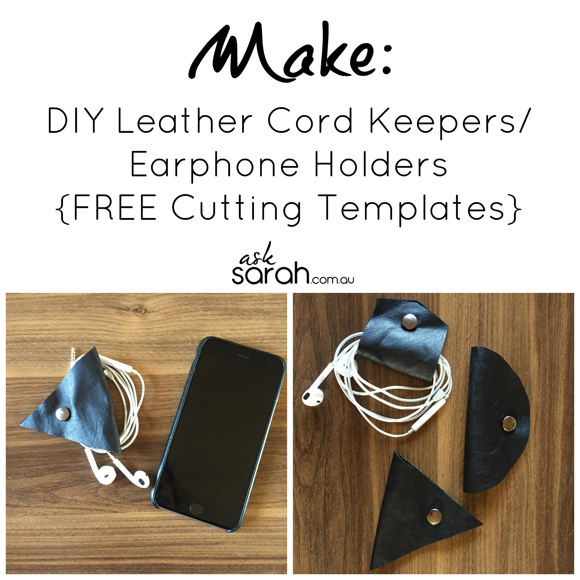 Make: DIY Leather Cord Keepers/Earphone Holders {FREE Cutting Templates}