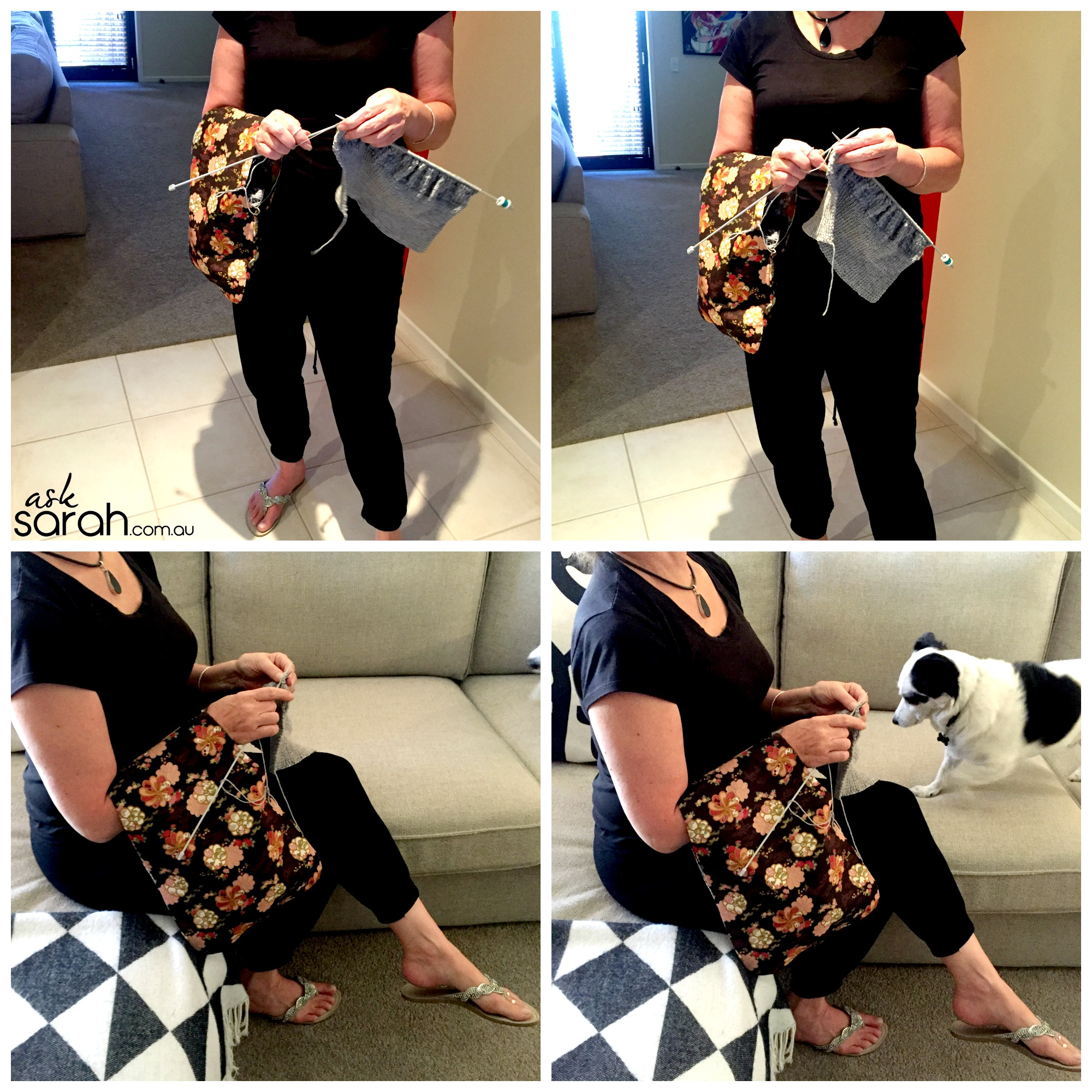 Sew: Reversible Arm Knitting Yarn/Wool Bag {So You Can Knit On The Bus or Train or Couch or Pretty Much Anywhere!}