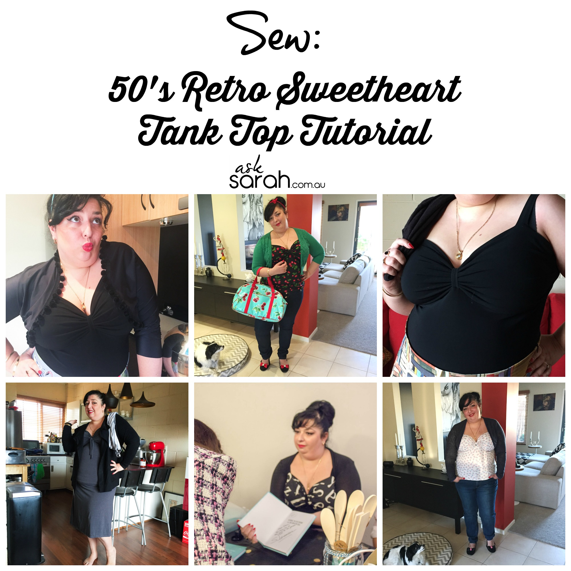Sew: 50's Retro Sweetheart Tank Top Tutorial {Quick & Easy Vintage Inspired Knit Top}
