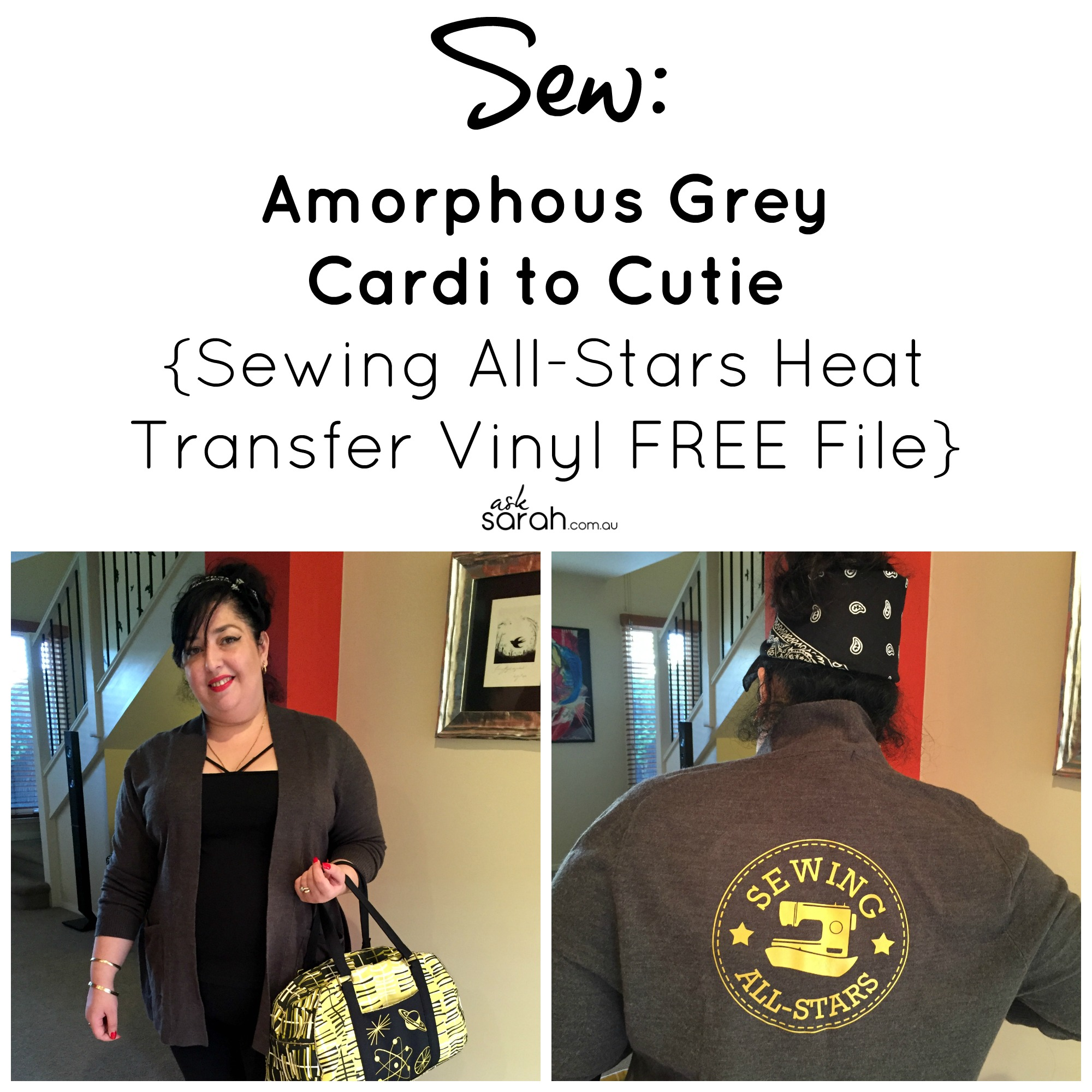 Sew: Amorphous Grey Cardi to Cutie {Sewing All-Stars Heat Transfer Vinyl FREE File}