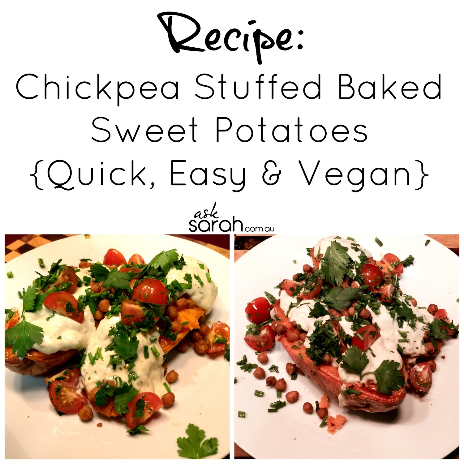 Recipe: Chickpea Stuffed Baked Sweet Potatoes {Quick, Easy & Vegan}