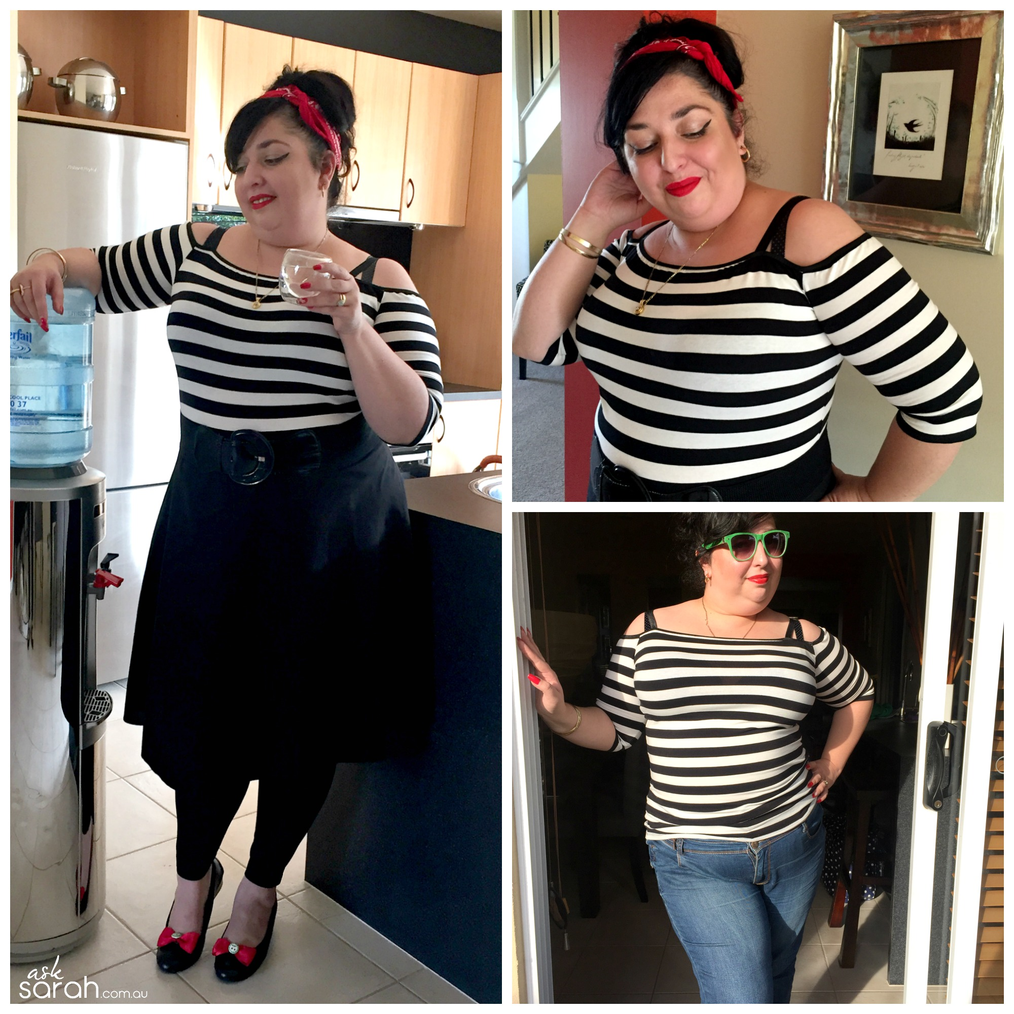 Sew: High Neck to Off Shoulder Tee Tutorial {A Quick Rockabilly Refashion}