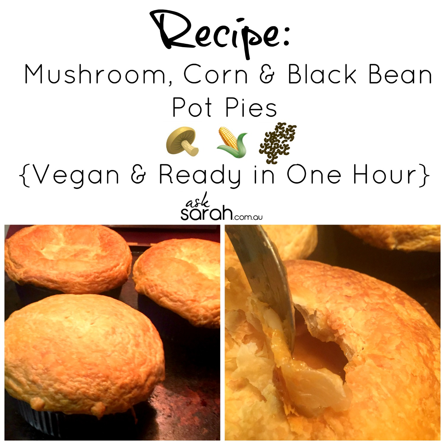 Recipe: Mushroom, Corn & Black Bean Pot Pies {Vegan & Ready in One Hour}