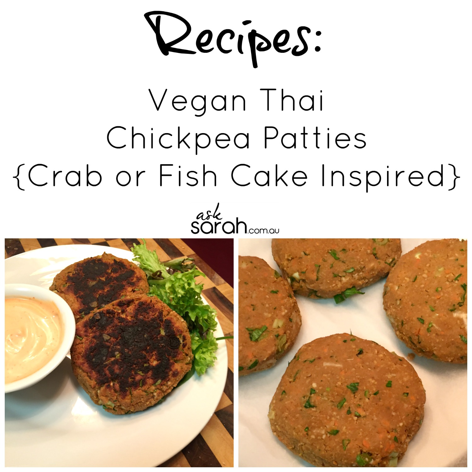 Recipe: Vegan Thai Chickpea Patties {Crab or Fish Cake Inspired}