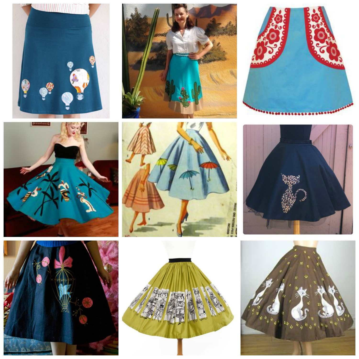 Sew: Rainy Day Skirt Refashion {Adding Whimsy with Applique & Covered Buttons}