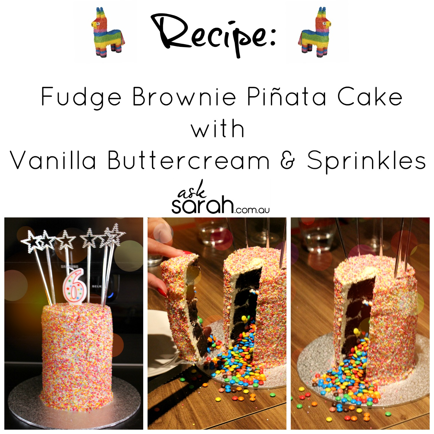 Recipe: Fudge Brownie Piñata Cake with Vanilla Buttercream & Sprinkles