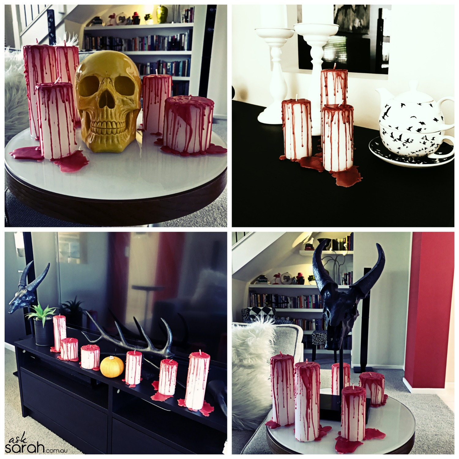DIY: Gory Bleeding Candles {Last Minute Halloween Décor or Hostess Gift}