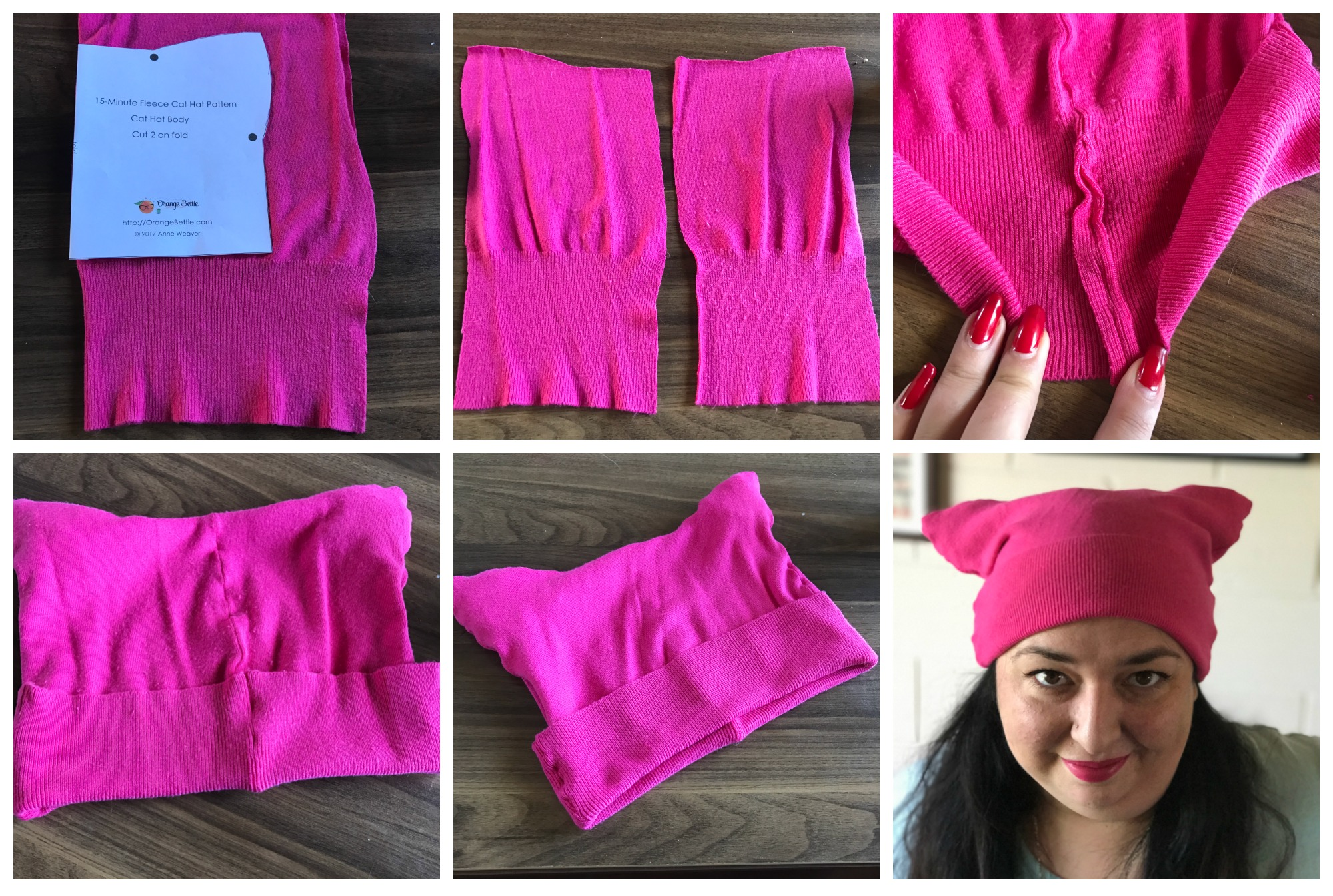 Sew Pink Pussy Hat {Upcycled from A Cardigan} Sew