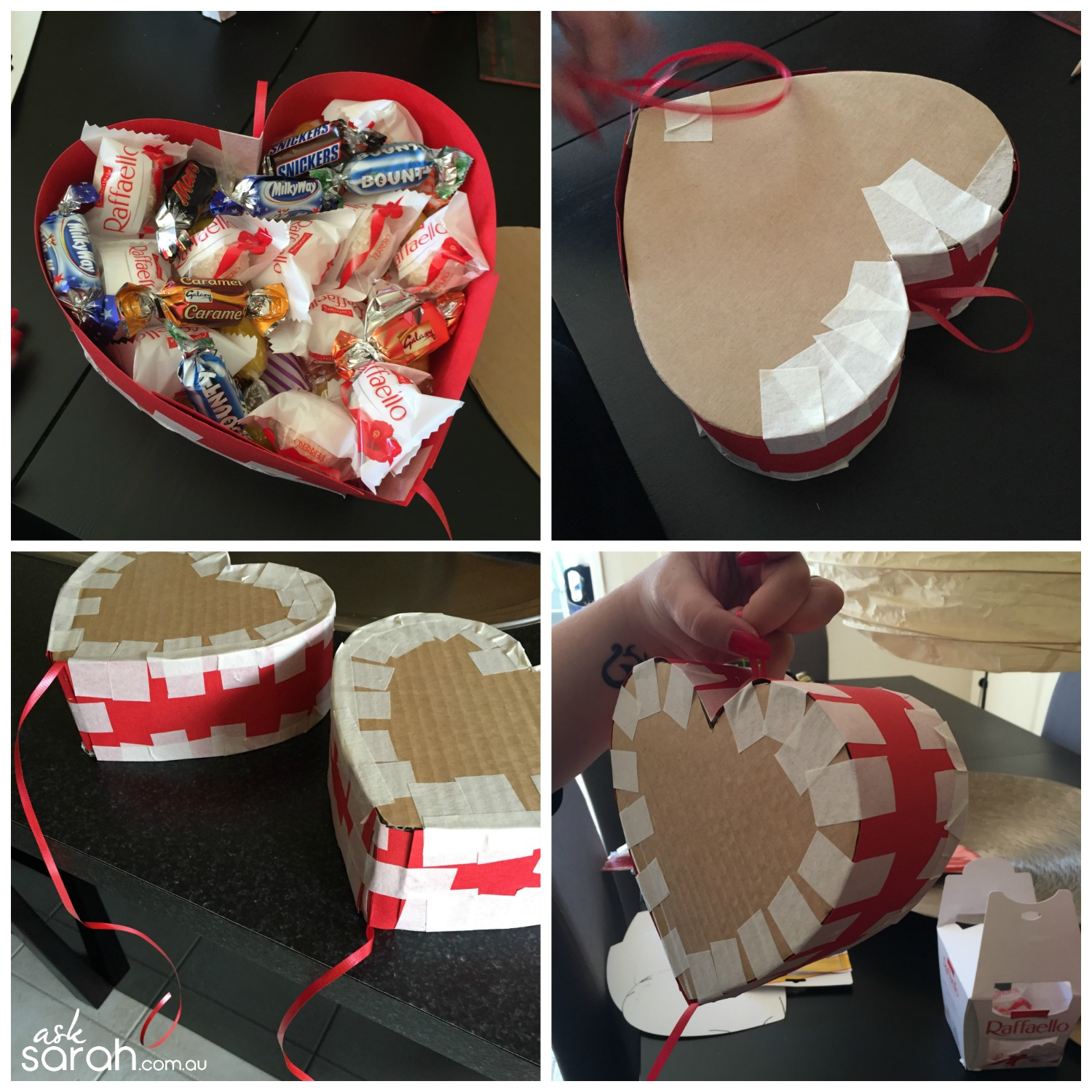 Make DIY Heart Shaped Pull Piñata Tutorial {Happy Valentines!} - Final Taping