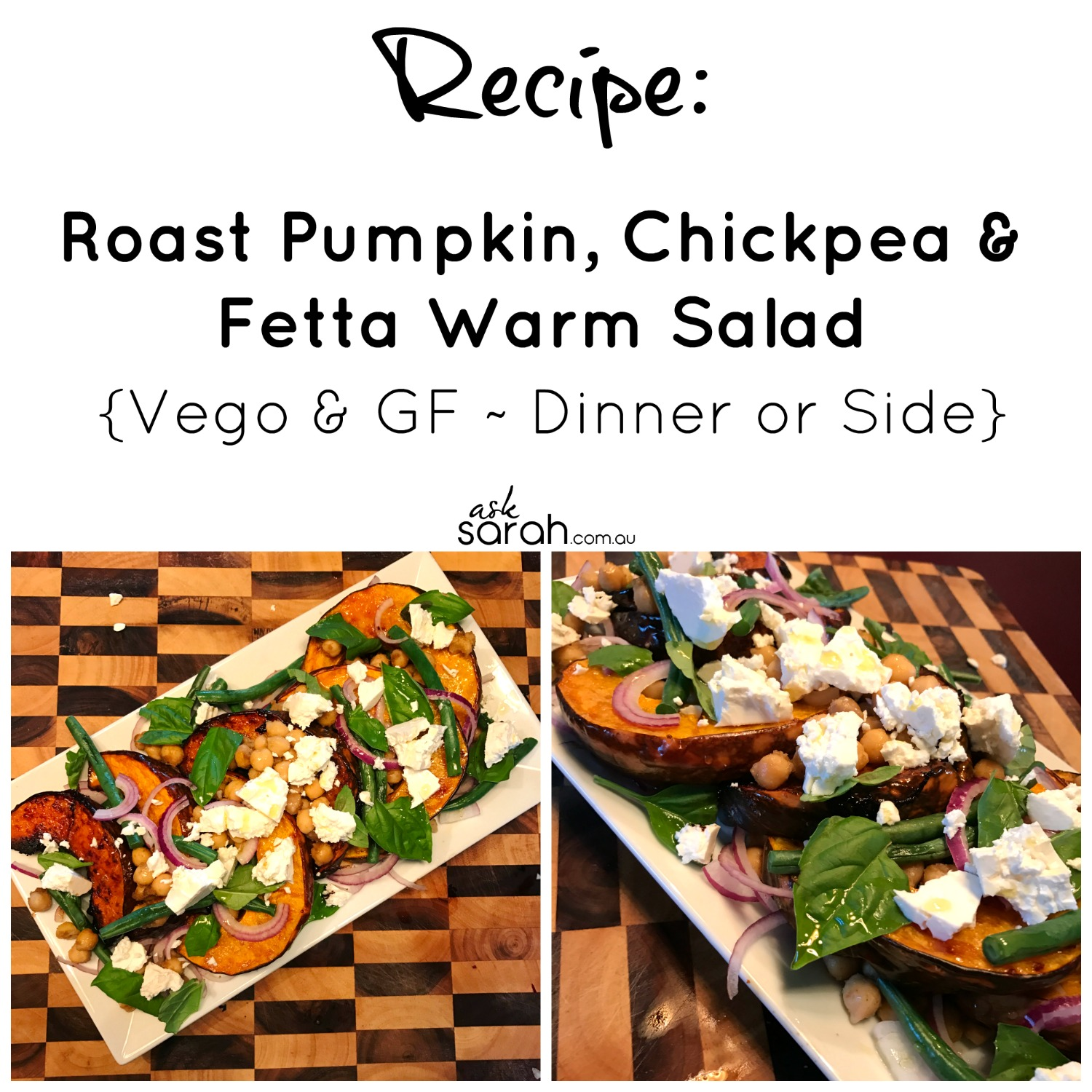 Recipe Roast Pumpkin, Chickpea & Fetta Salad {Vego & GF Dinner or Side}